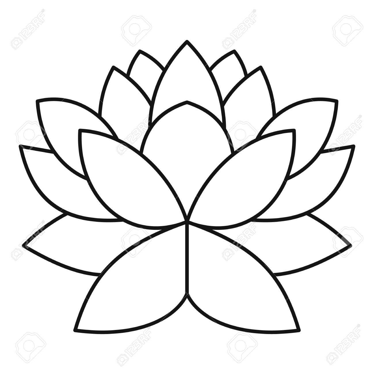 Lotus Flower Icon Outline Illustration Of Lotus Flower Vector