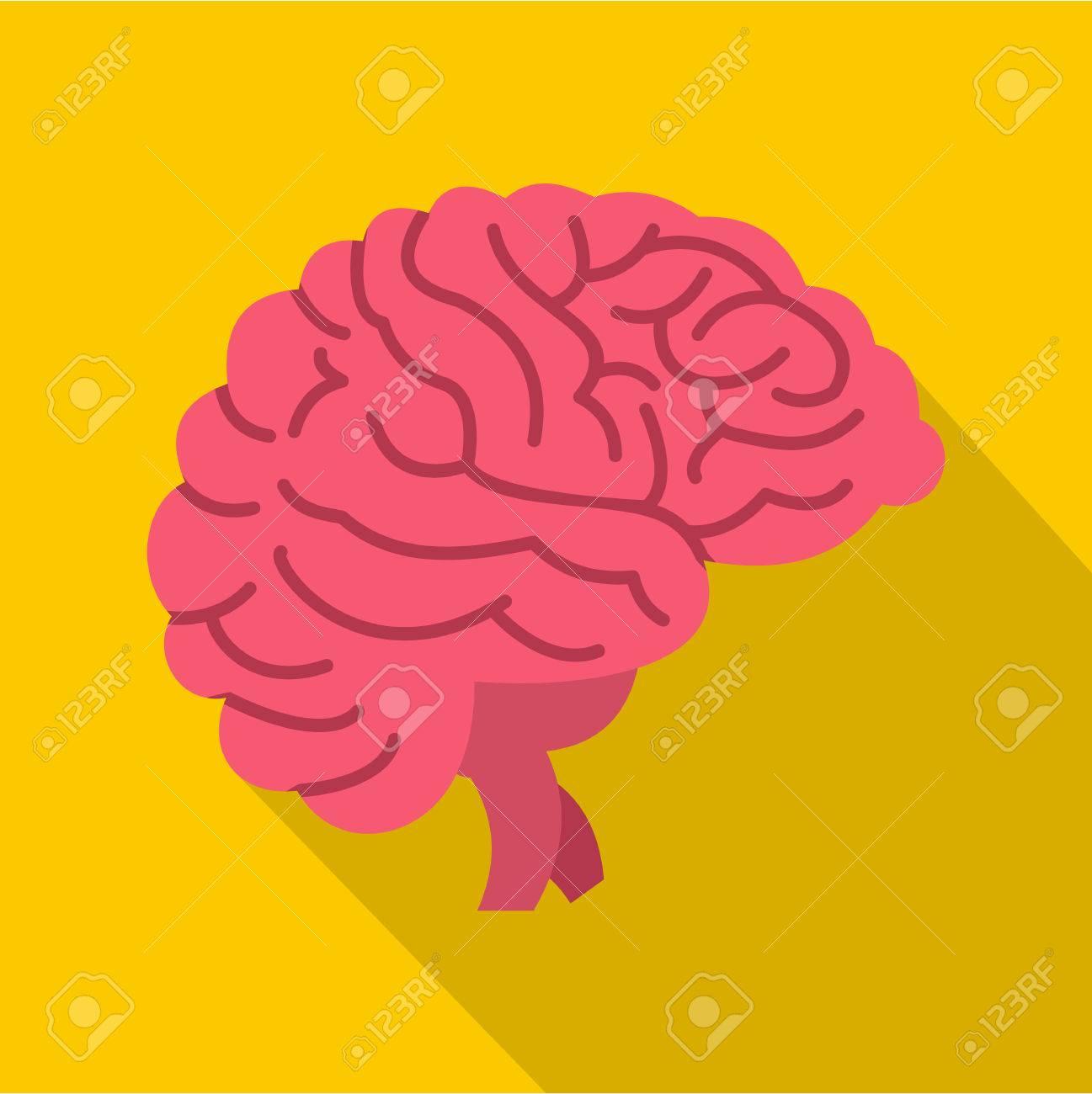 Gehirn-Symbol. Flache Abbildung Des Gehirns Vektor-Symbol Für Web ...