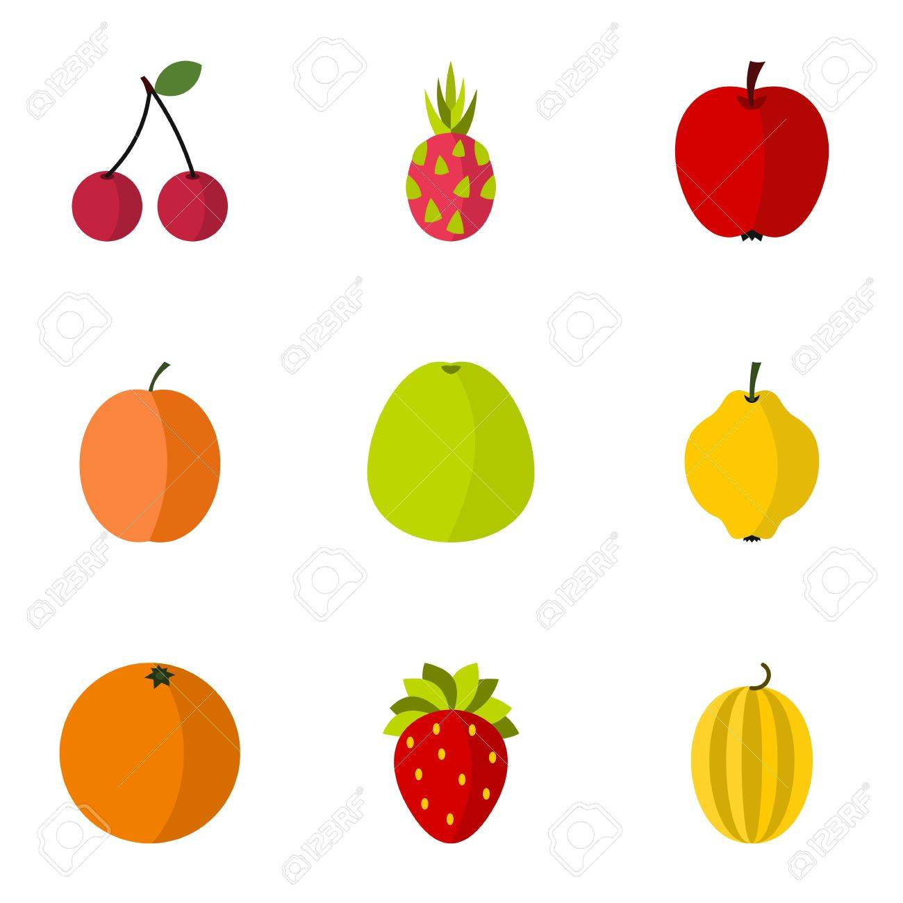 types of fruit icons set flat illustration of 9 types of fruit rh 123rf com fruit vector background free fruit vector background free