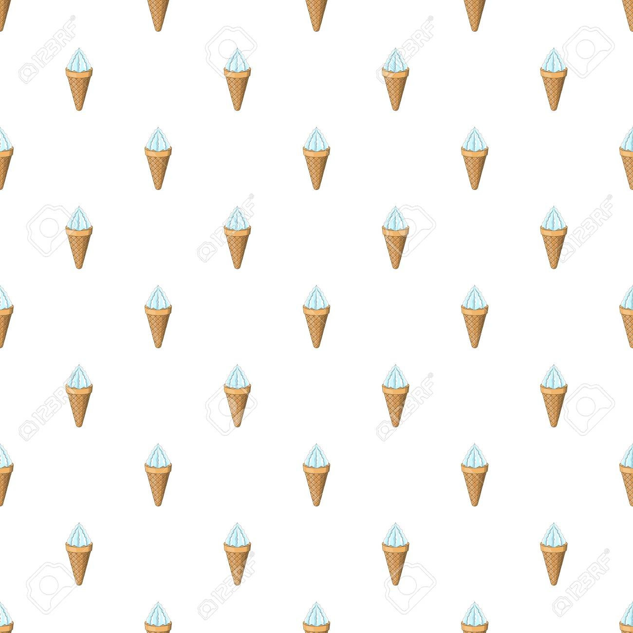 Vanilla Ice Cream In A Waffle Cone Pattern Cartoon Illustration