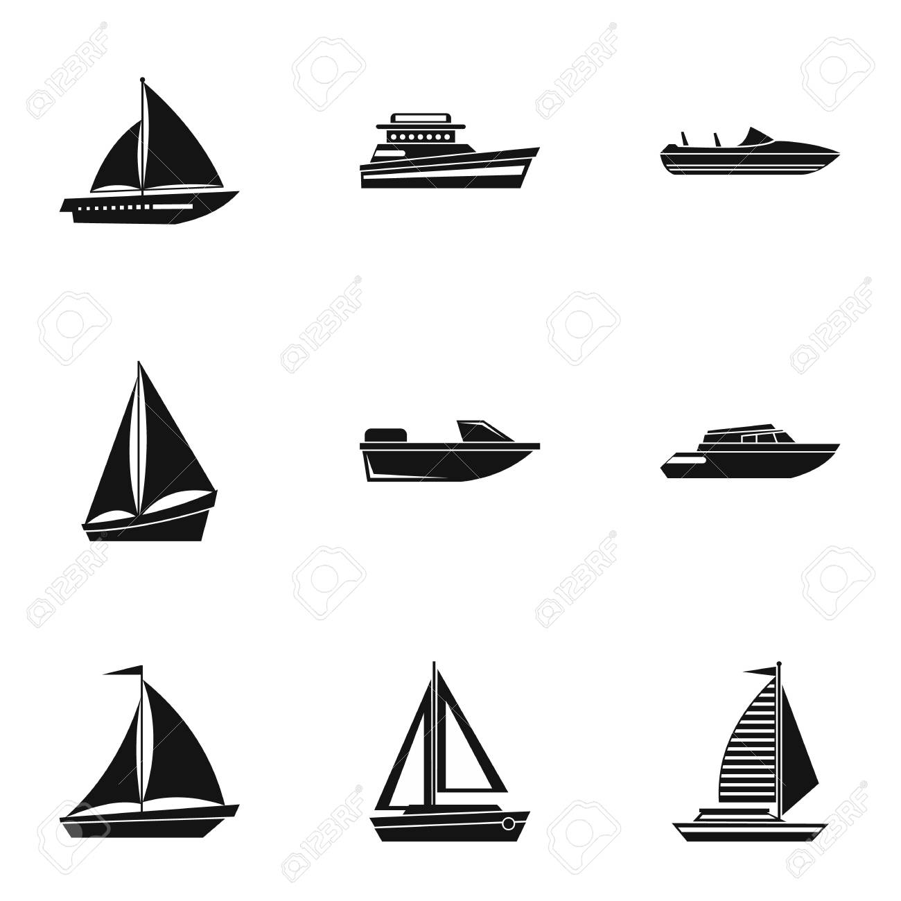 boat icons set simple illustration of 9 boat vector icons for rh 123rf com boat vector logo boat vector graphic
