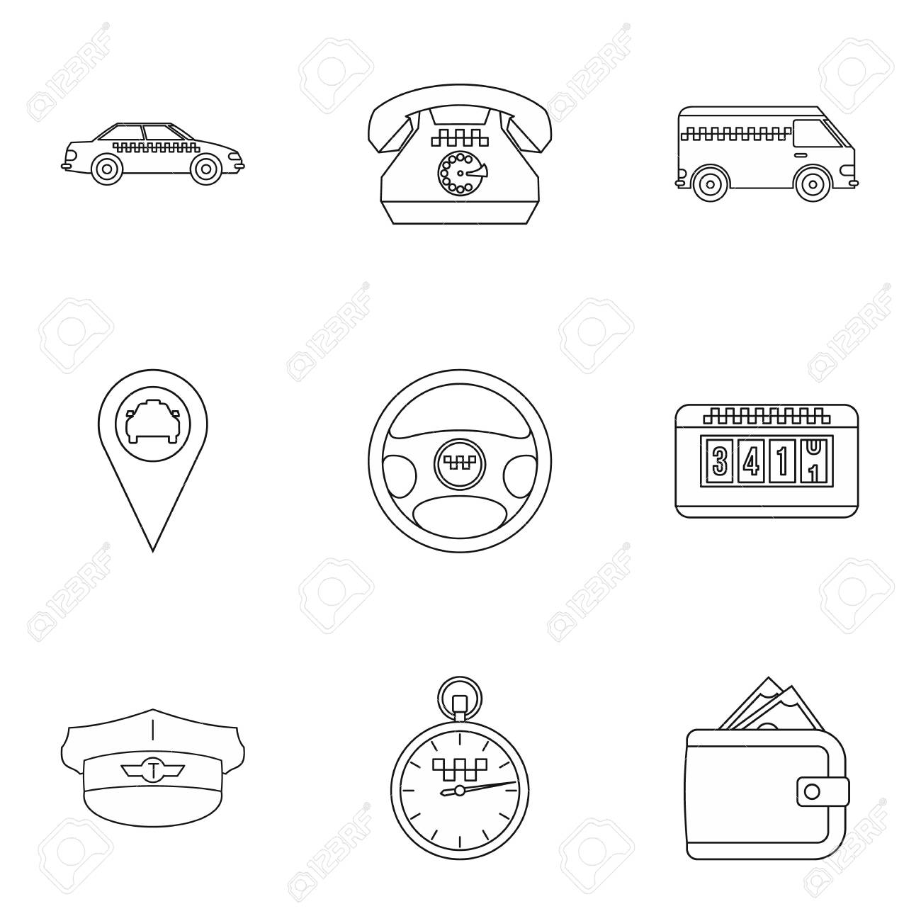 Taxi Custom Icons Set Outline Illustration Of 9 Vector For Web Stock