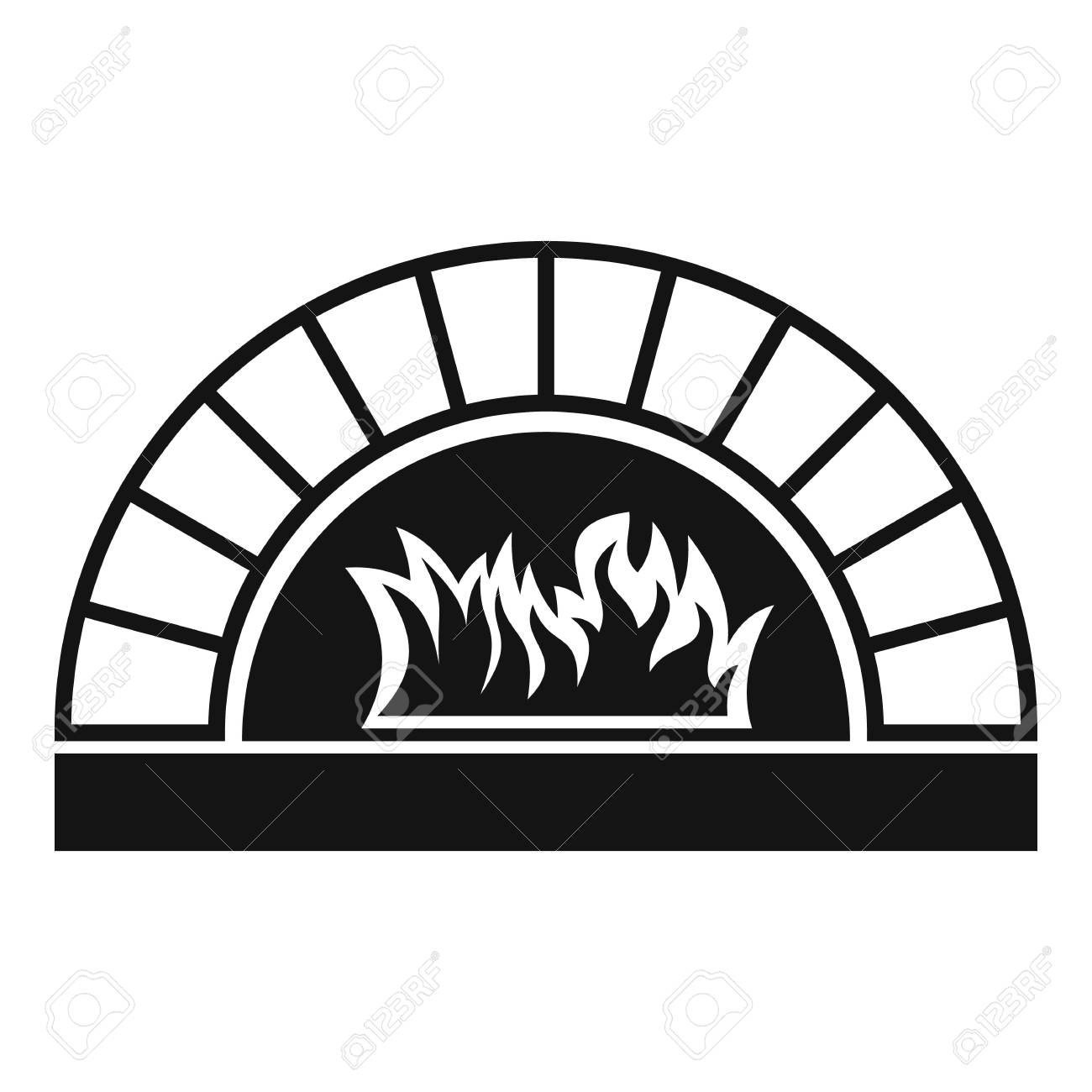 Pizza Oven With Fire Icon. Simple Illustration Of Pizza Oven ...