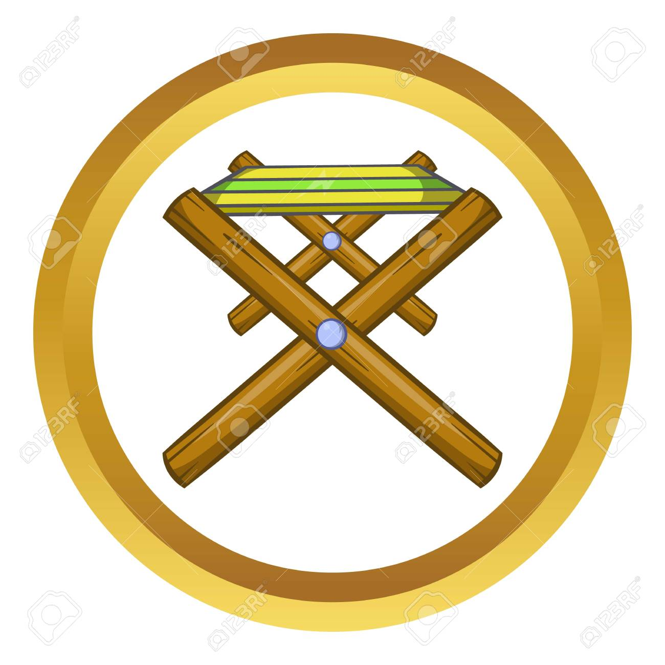 Mesa Plegable Estilo.Mesa Plegable Del Icono Del Vector En El Circulo De Oro Estilo De Dibujos Animados Aislado En El Fondo Blanco