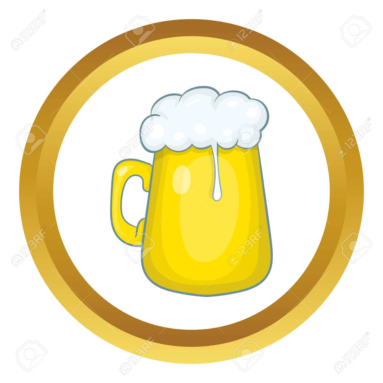 Glass Mug Of Beer Vector Icon In Golden Circle Cartoon Style
