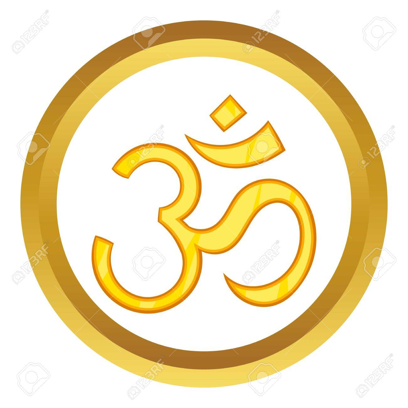 Hindu Om Symbol Vector Icon In Golden Circle Cartoon Style Isolated
