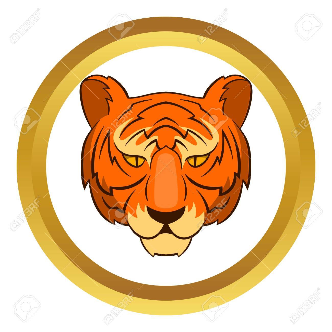 Tiger head symbol of south korea economics vector icon in golden tiger head symbol of south korea economics vector icon in golden circle cartoon style isolated biocorpaavc