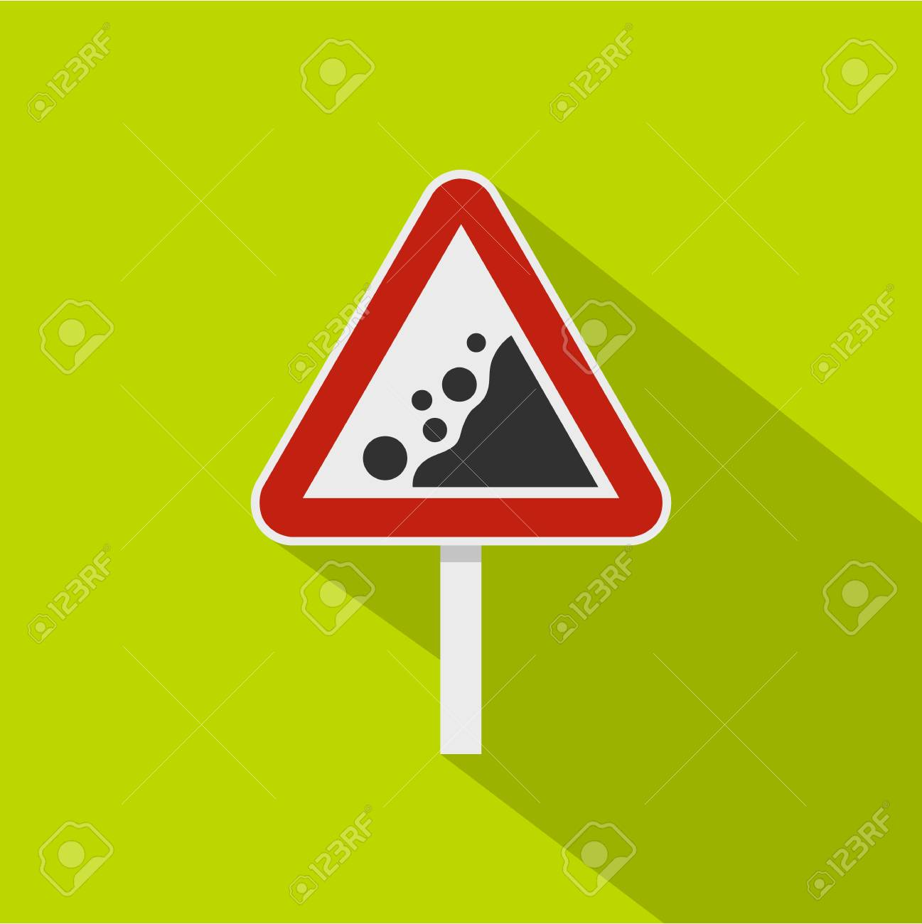 Rockfall traffic sign icon. Flat illustration of rockfall traffic sign vector icon for web isolated on lime background - 66115068