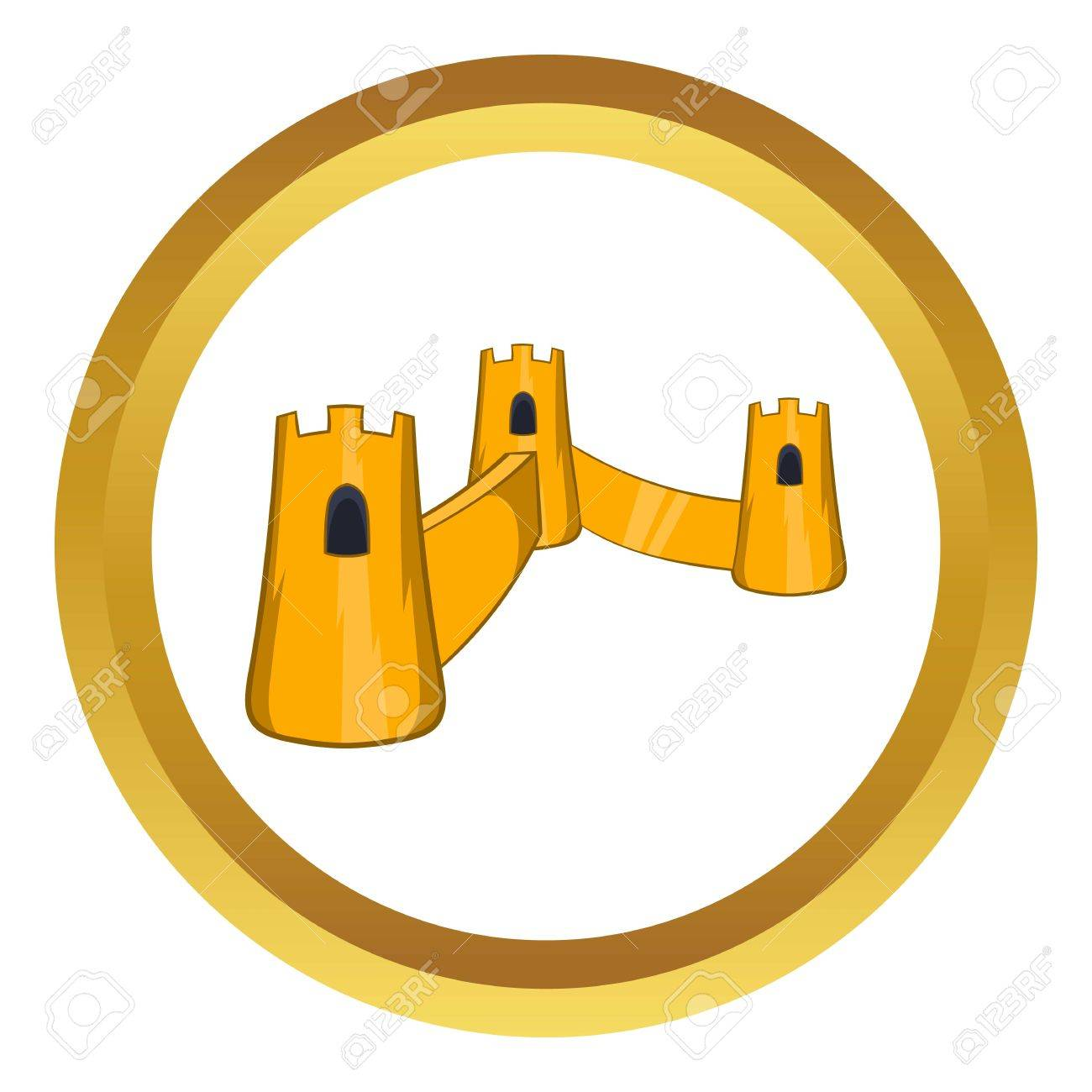 Great Wall Of China Vector Icon In Golden Circle, Cartoon Style ...