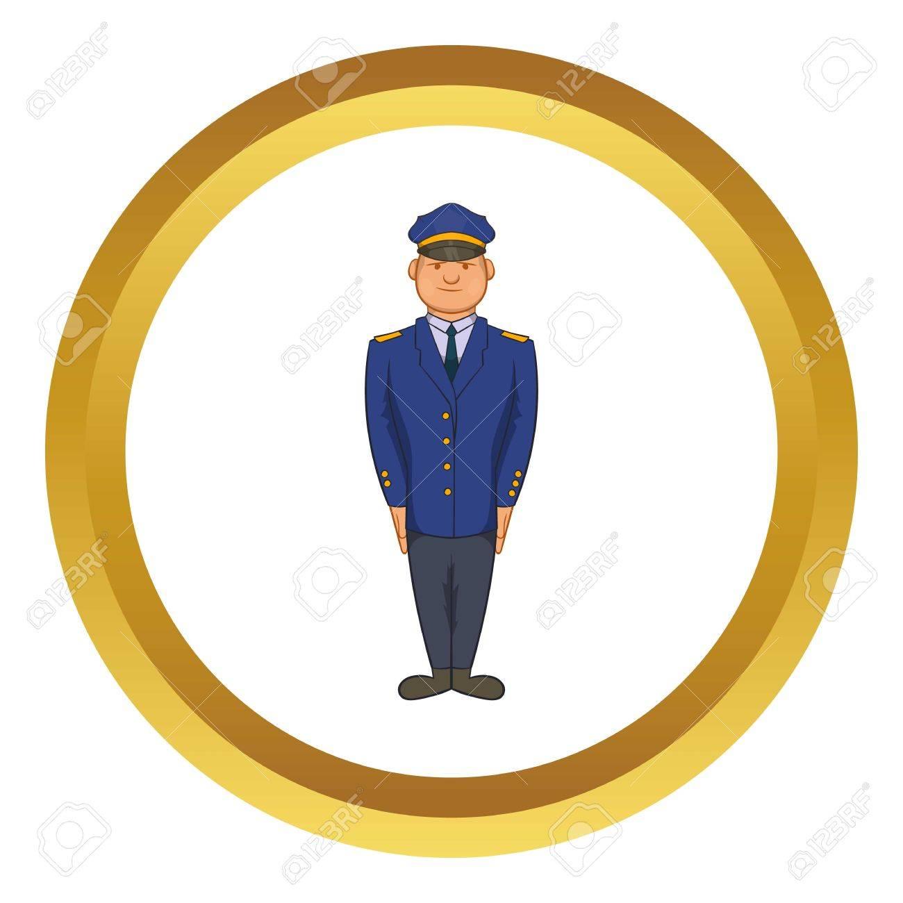 policemen vector icon in golden circle cartoon style isolated