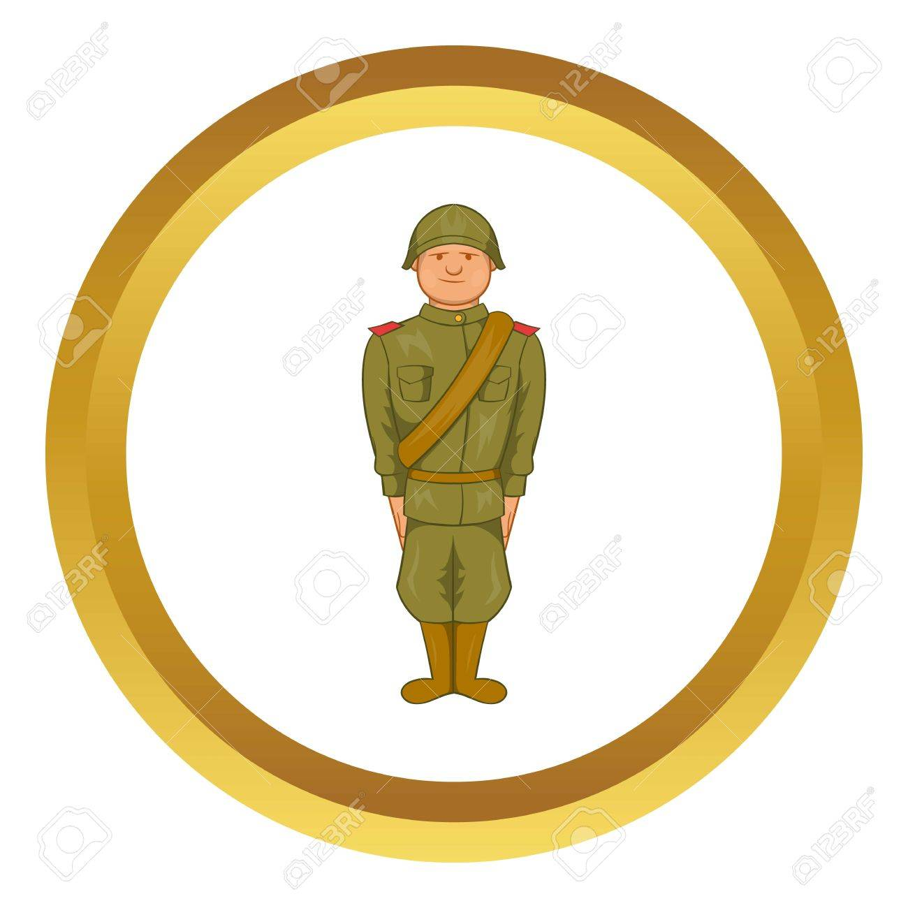 Soviet uniform of world war ii vector icon in golden circle soviet uniform of world war ii vector icon in golden circle cartoon style isolated on buycottarizona Gallery