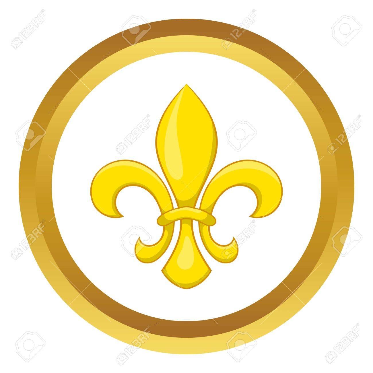 Fleur De Lis Vector Icon In Golden Circle Cartoon Style Isolated