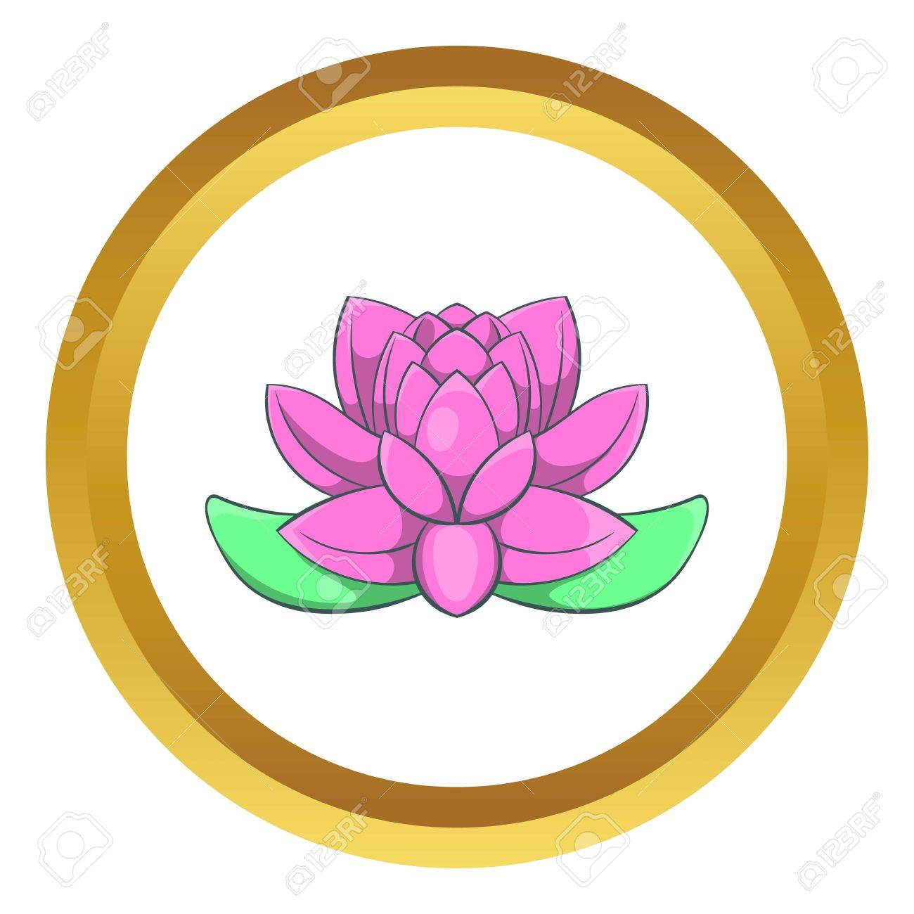 Pink Lotus Flower Vector Icon In Golden Circle Cartoon Style