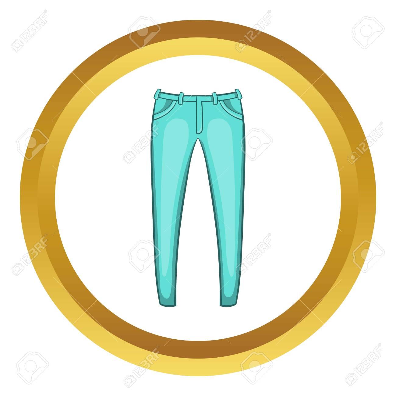 Icono de vector de jeans para hombres en círculo de oro, estilo de dibujos animados aislado sobre fondo blanco