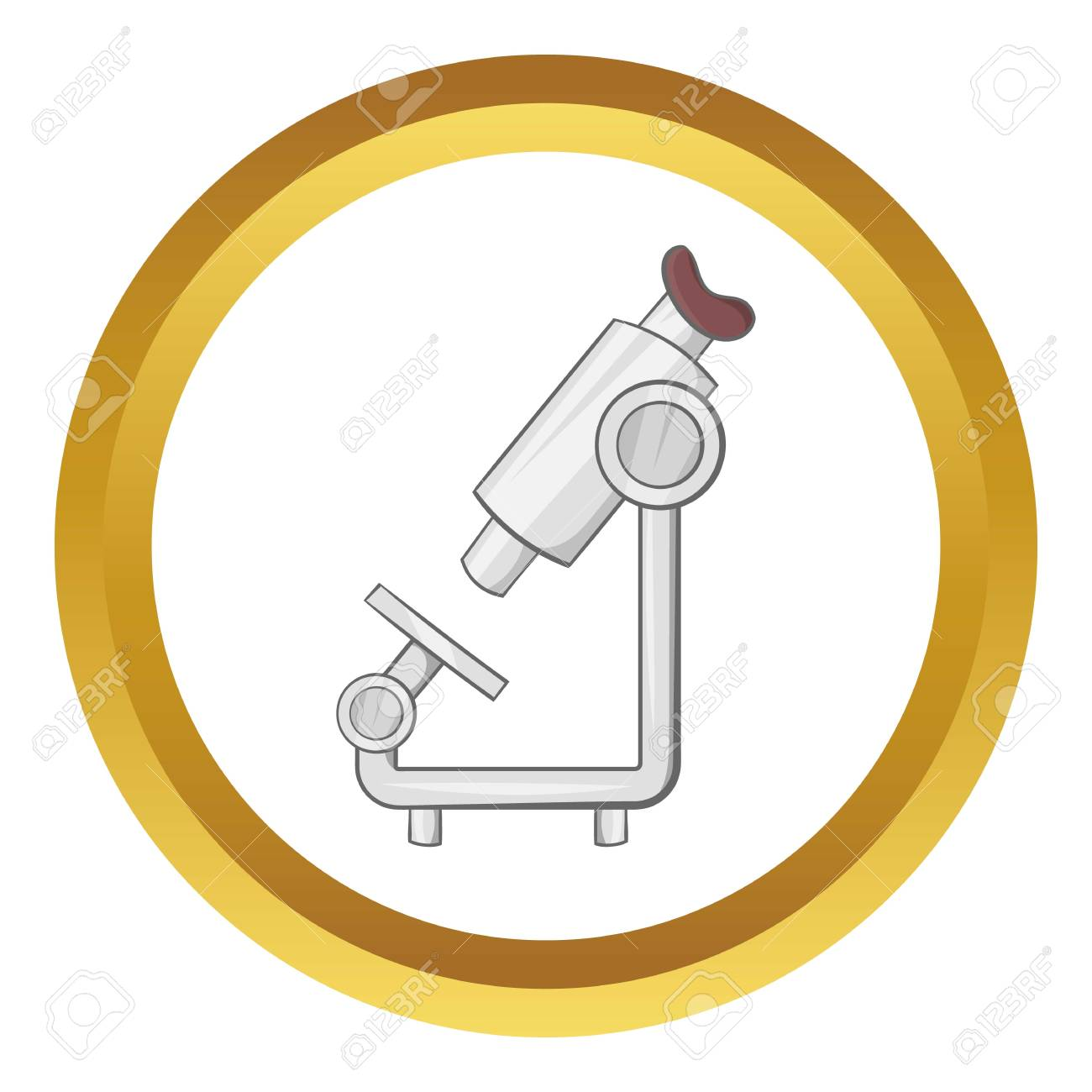 microscope vector icon in golden circle cartoon style isolated royalty free cliparts vectors and stock illustration image 69755832 123rf com