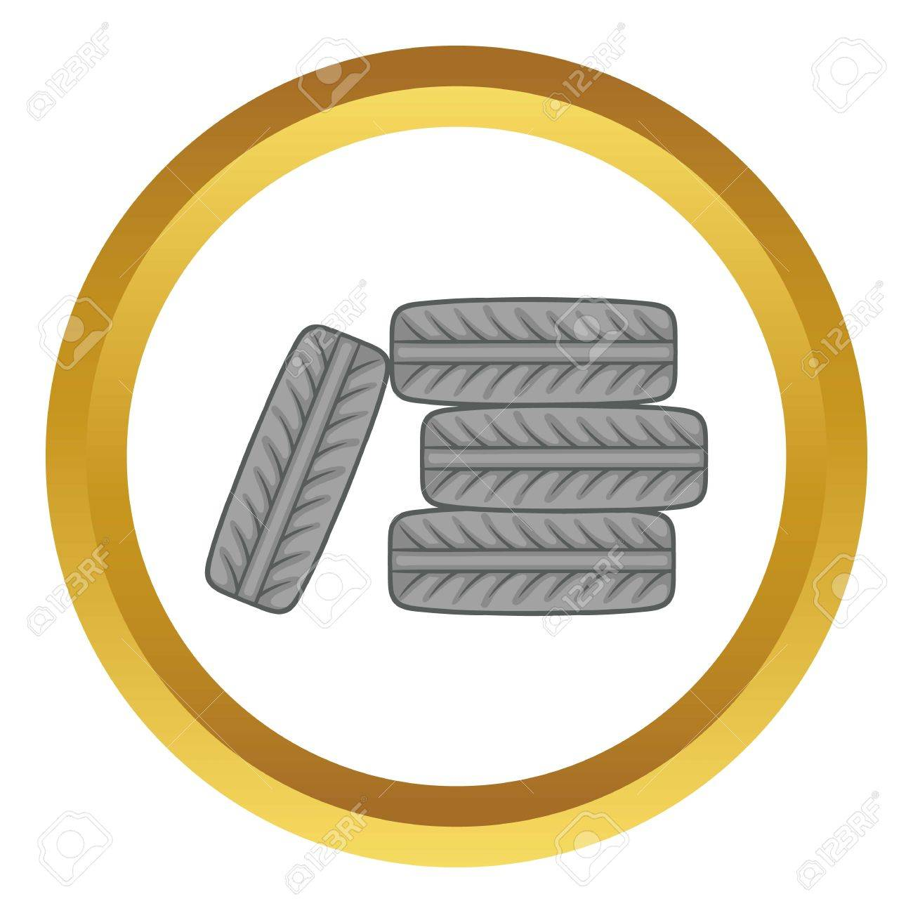 pile of black tires vector icon in golden circle cartoon style