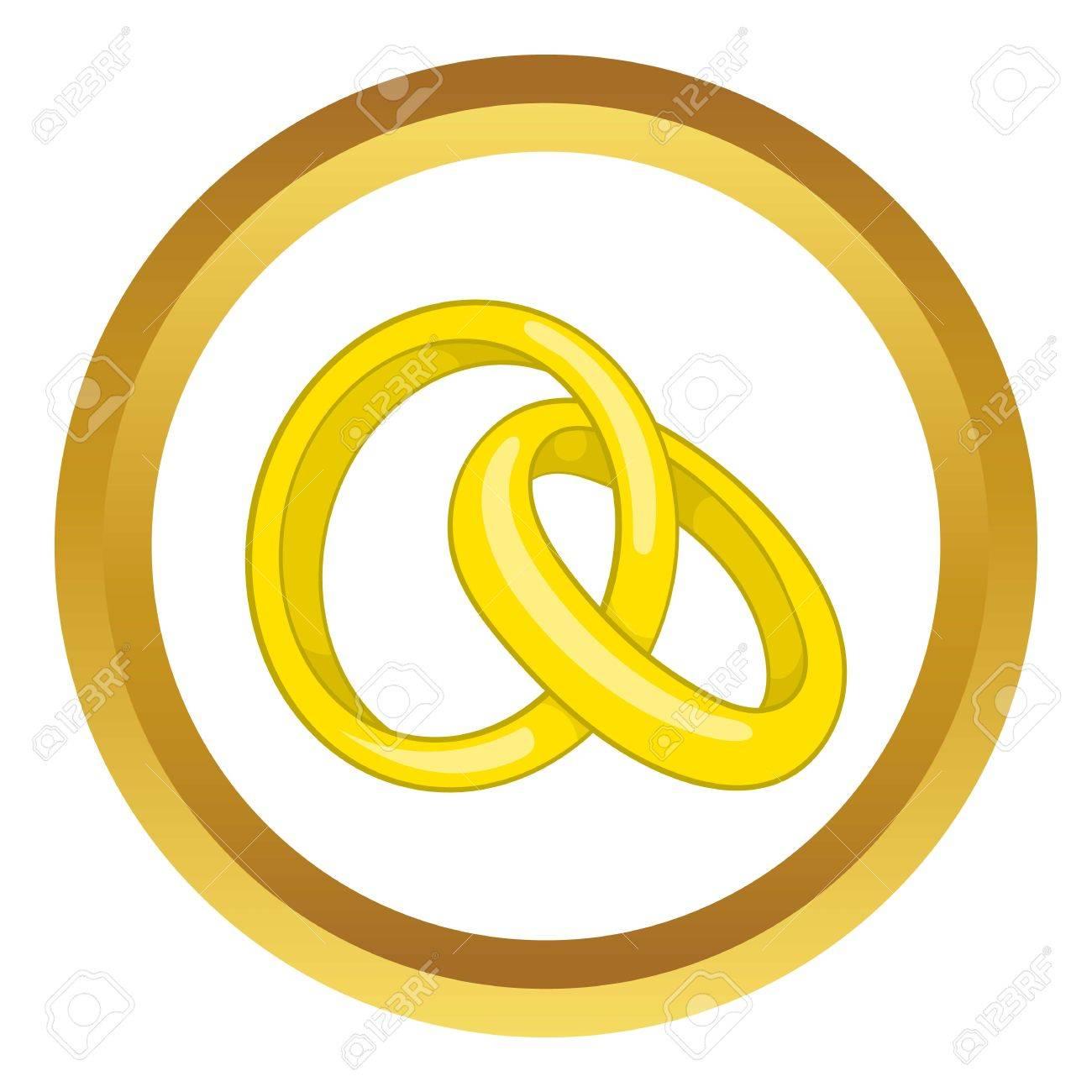 Anillos De Compromiso Del Icono Del Vector En El Círculo De Oro