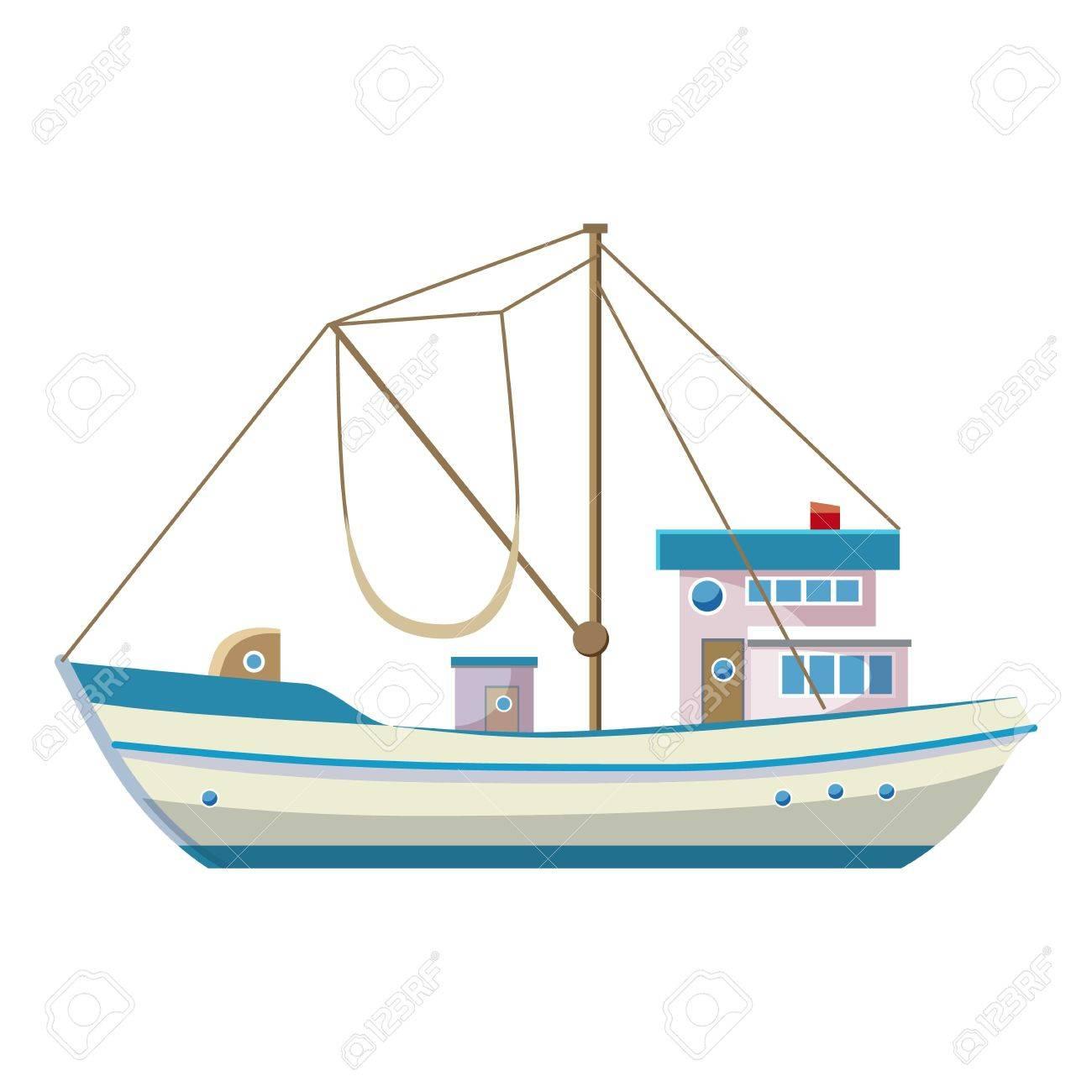 Fishing Boat Icon Cartoon Illustration Of Fishing Boat Vector Royalty Free Cliparts Vectors And Stock Illustration Image 69756805