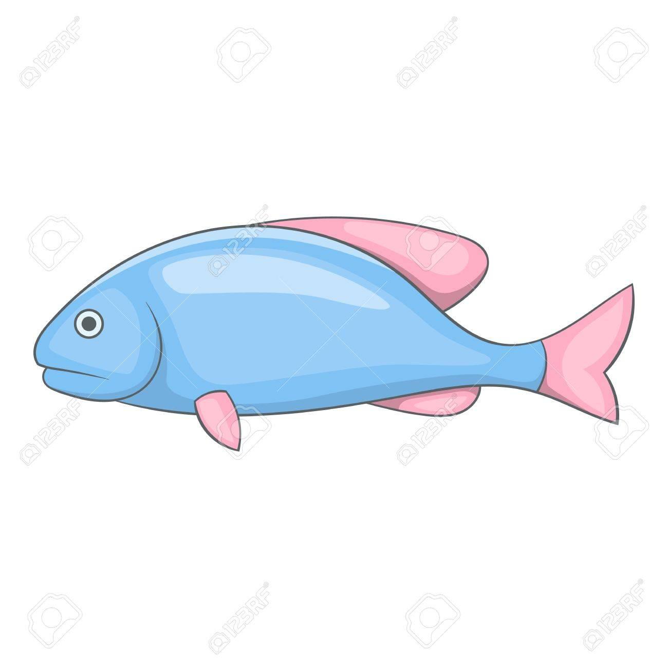 Pescado Azul Con El Icono De Aletas De Color Rosa. Ilustración De ...