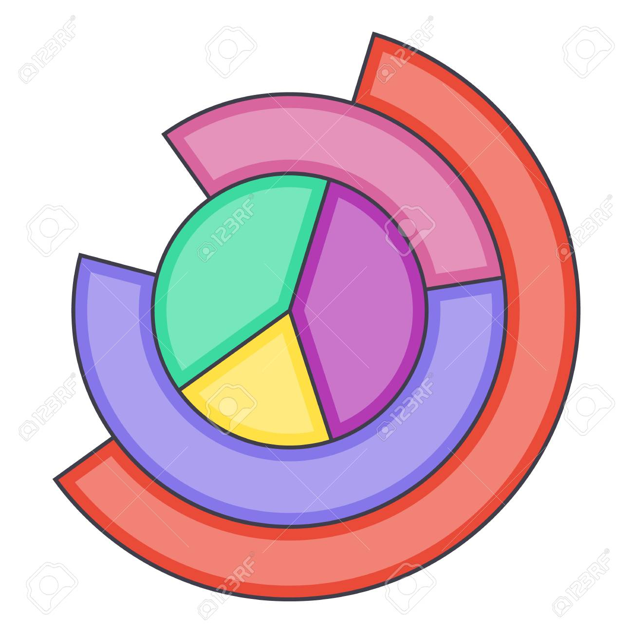 business pie chart icon. cartoon illustration of business pie