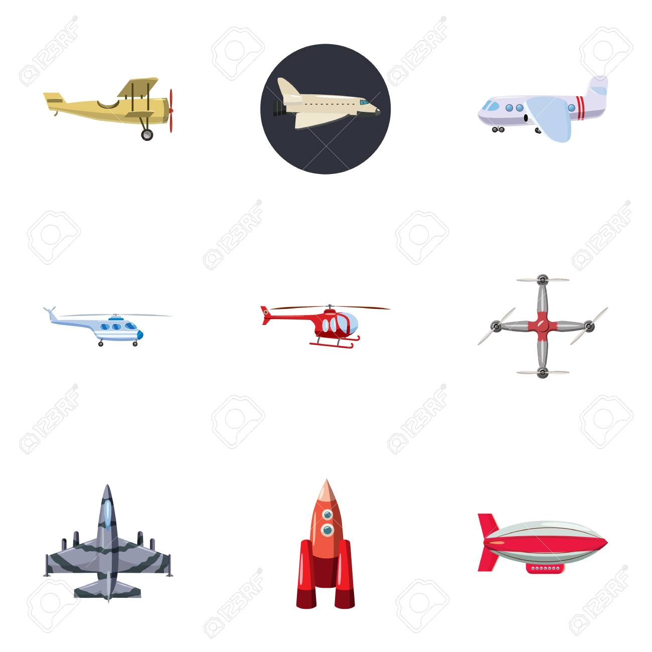 Flying Vehicles Icons Set Cartoon Illustration Of 9 Flying Vehicles Royalty Free Cliparts Vectors And Stock Illustration Image 69089564