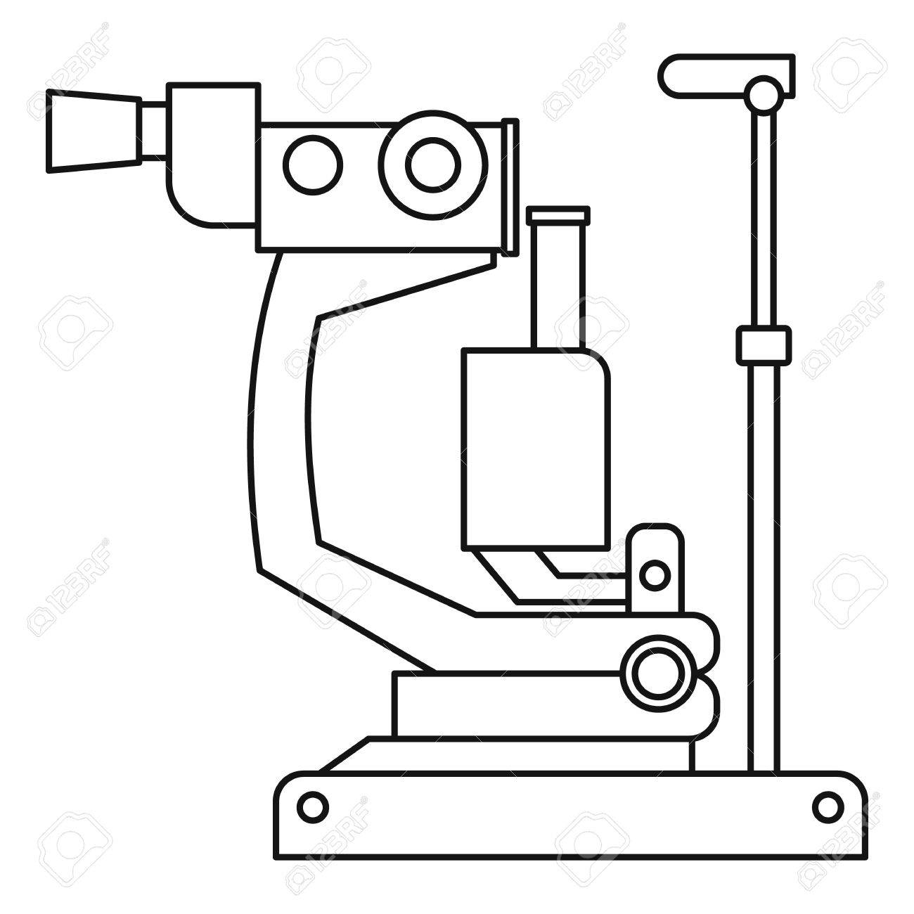 Phoropter, ophthalmic testing device machine icon  Outline illustration