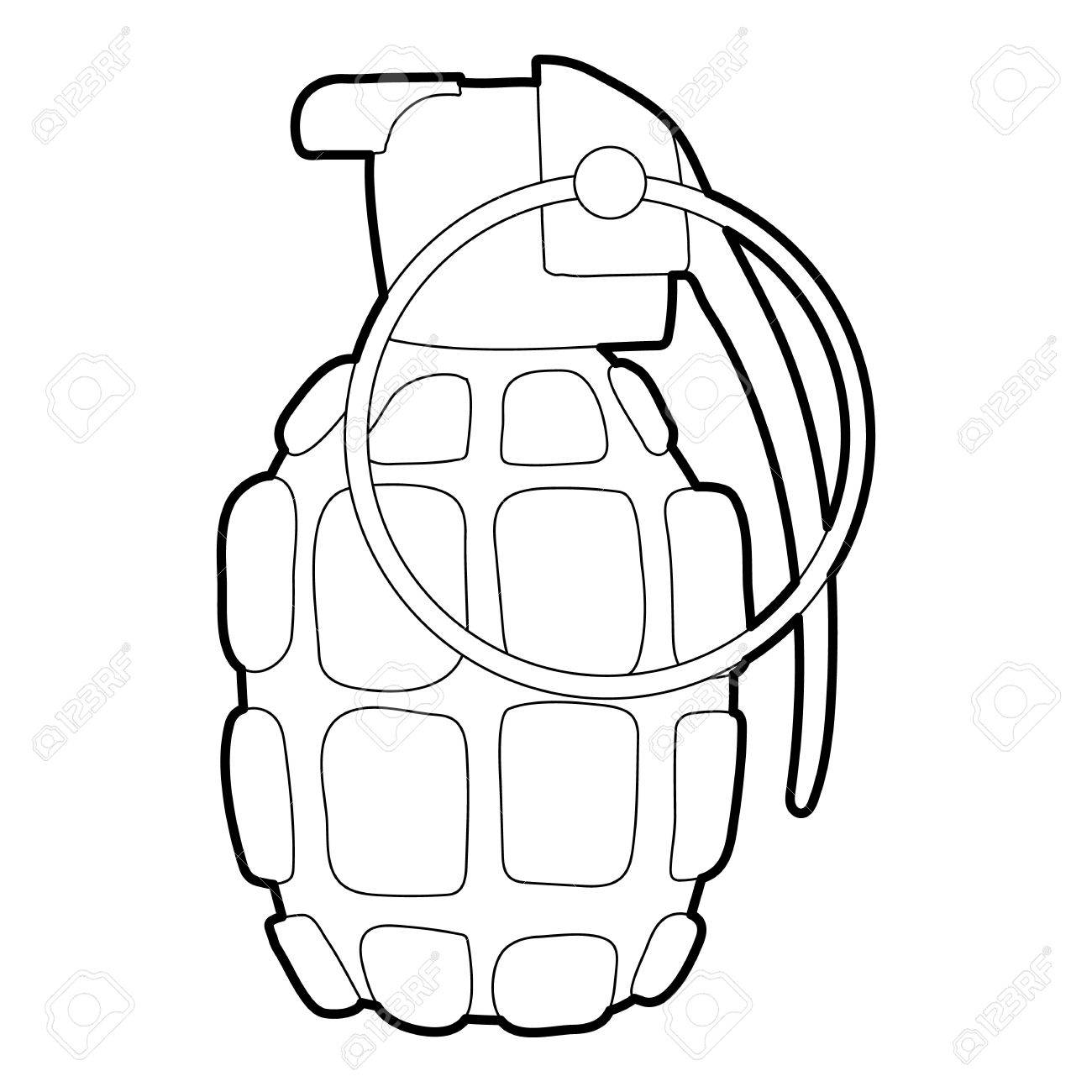 hand grenade icon outline illustration of hand grenade vector rh 123rf com grenade vector free grenade vector free