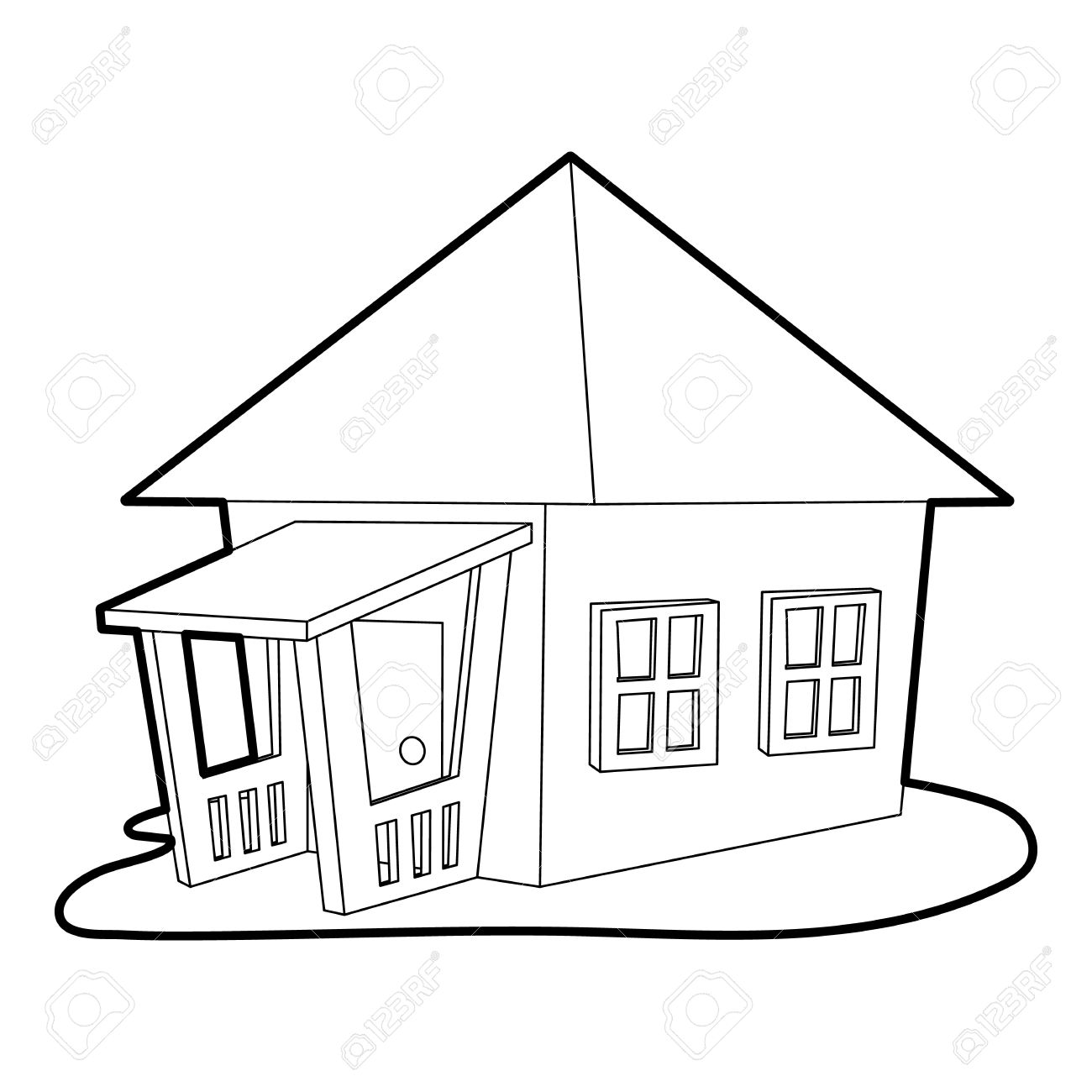 Bungalow Icon Outline Illustration Of Vector For Web Stock