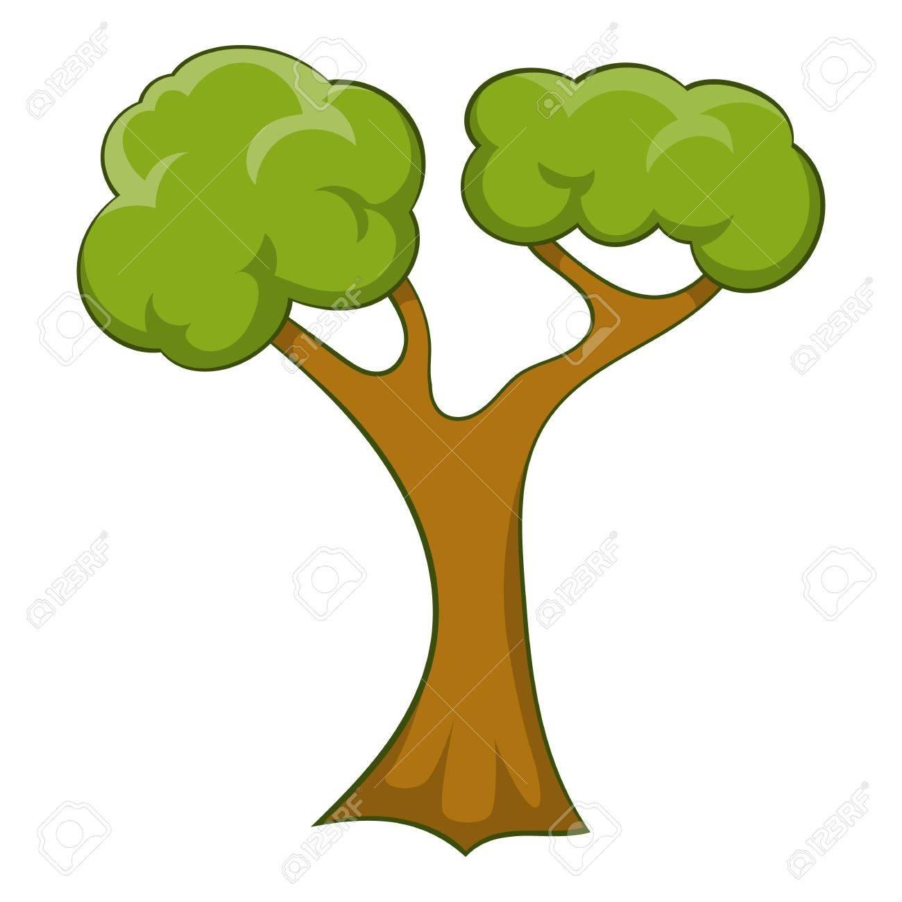 icono del árbol con muchas ramas ilustración de dibujos animados de