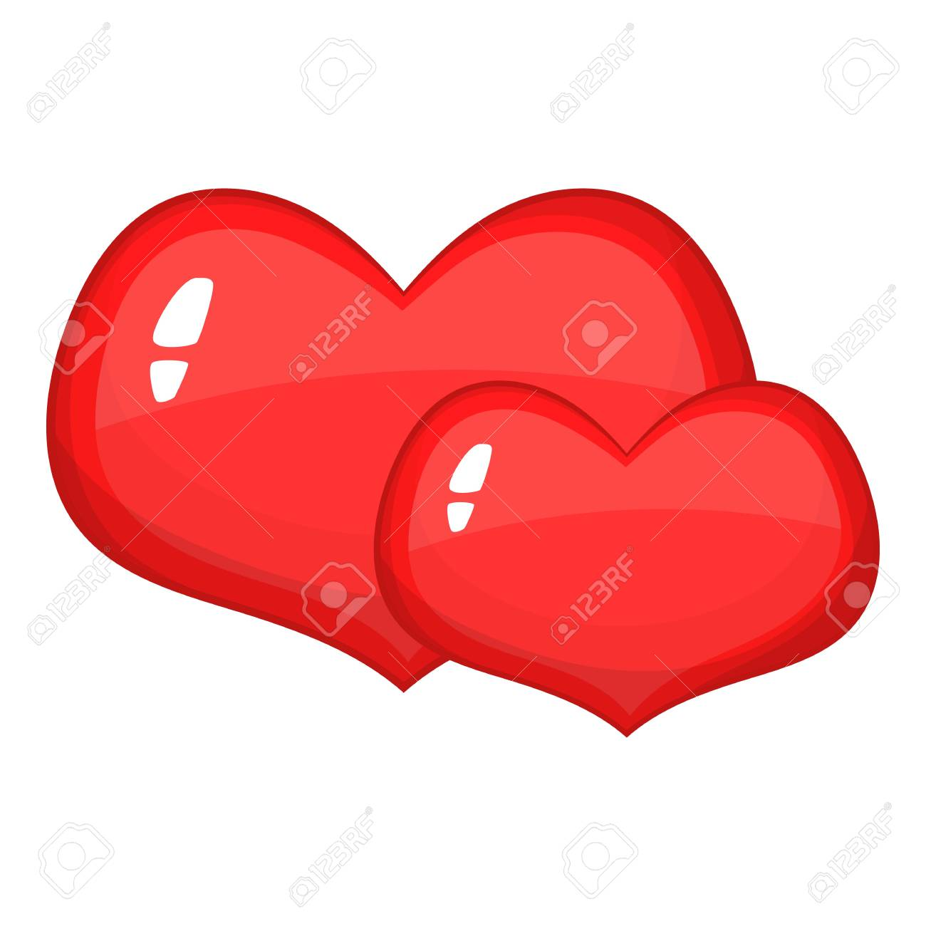 Icone De Deux Coeurs Rouges Illustration De Dessin Anime De L