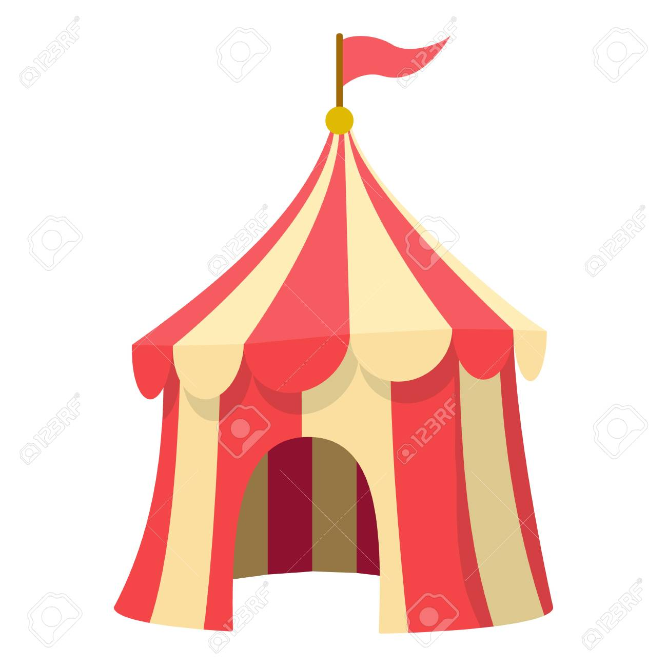 Circus tent icon. Cartoon illustration of circus tent vector icon for web design Stock Vector  sc 1 st  123RF Stock Photos & Circus Tent Icon. Cartoon Illustration Of Circus Tent Vector ...