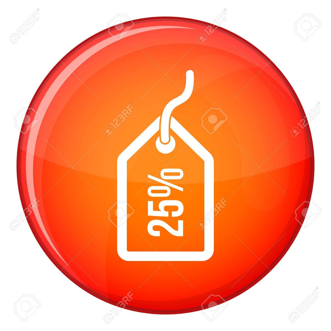 77a345214 Etiqueta con 25 icono de descuento en el círculo rojo aislado en la  ilustración de vector