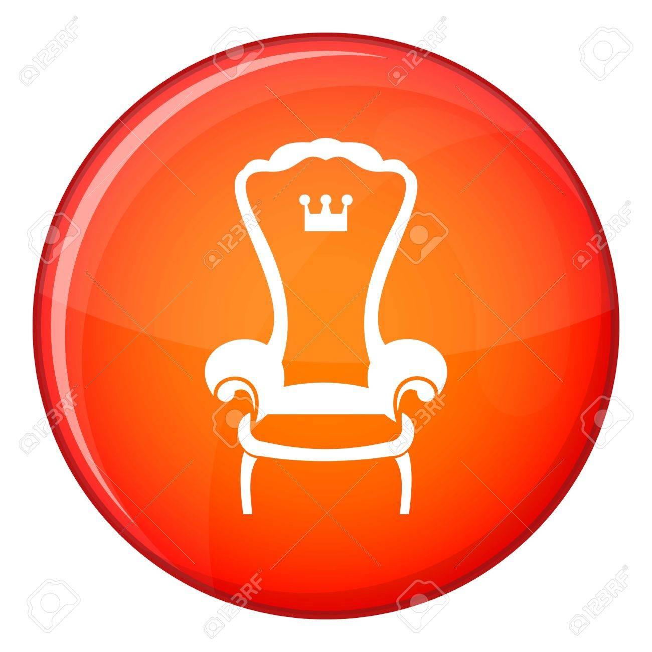 Roi Icone De Chaise Trone En Cercle Rouge Isole Sur Lillustration