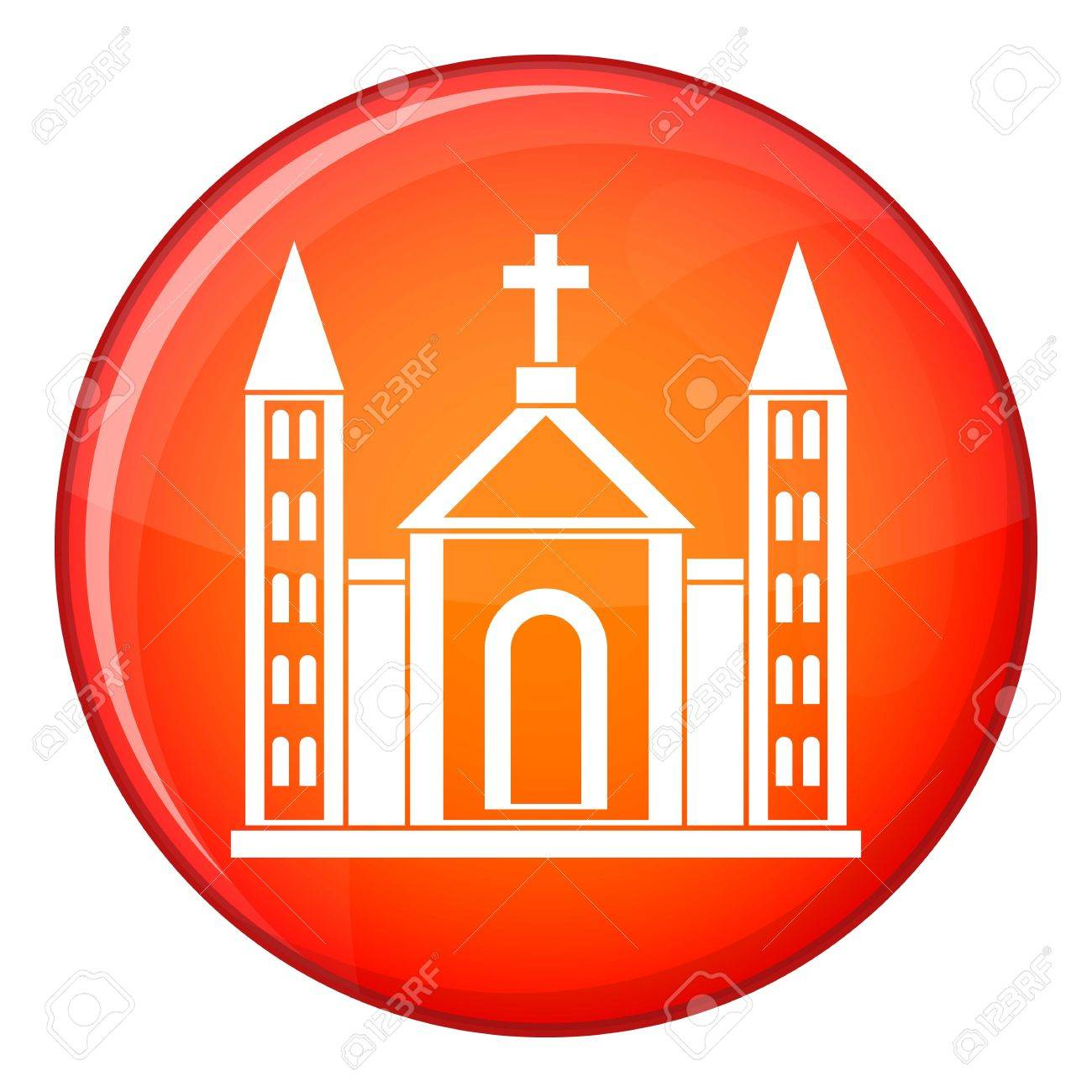 Christian Catholic Church Building Icon In Red Circle Isolated