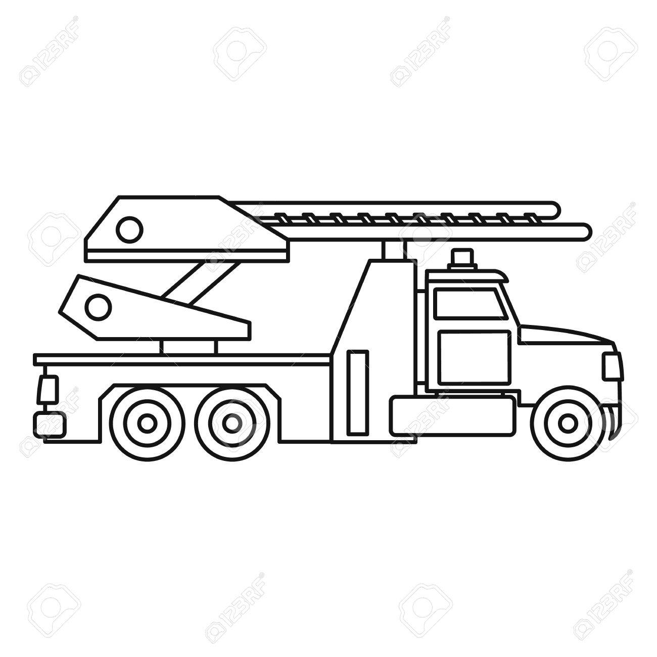 Fire Truck Icon Outline Illustration Of Vector For Web Stock