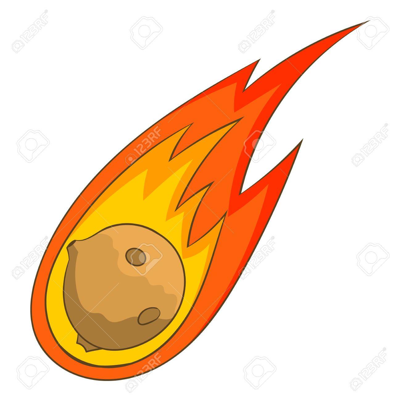 Icône De Météorite à La Flamme Illustration De Dessin Animé D Icône