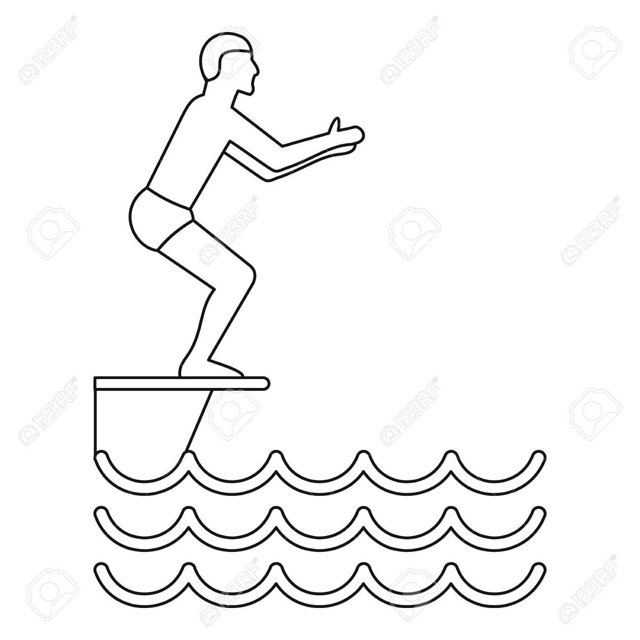 Jumping In A Pool Icon Outline Illustration Of Vector For