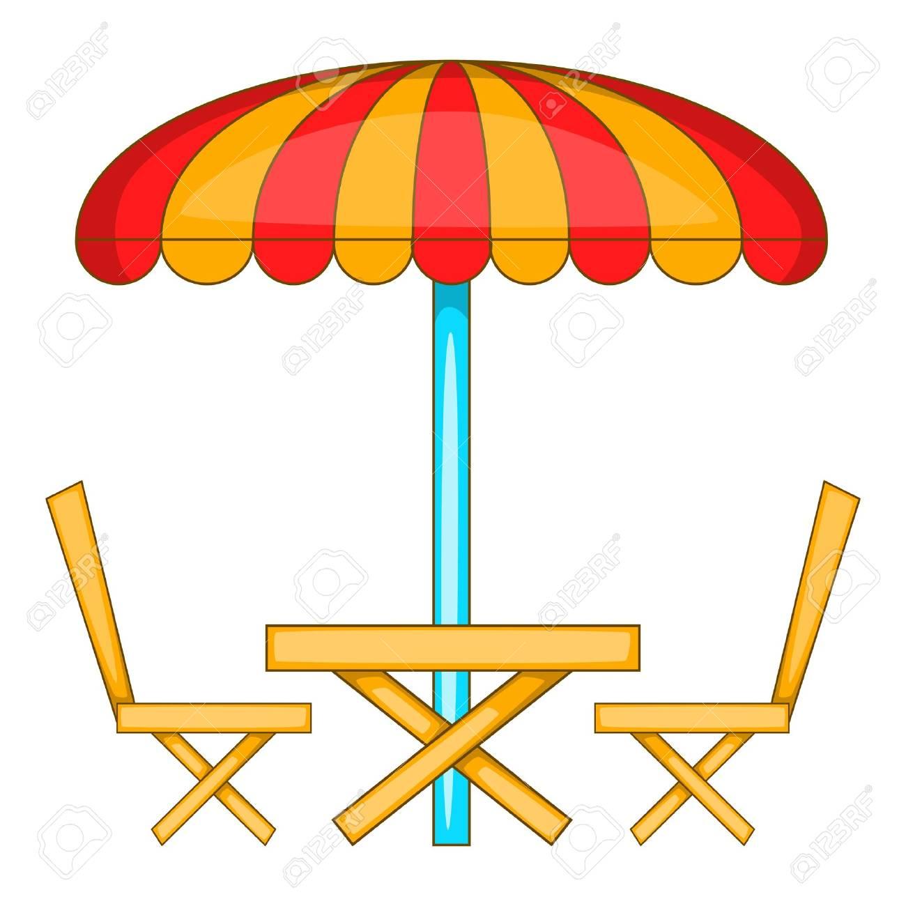 Dessin Parasol table de café avec icône de parasol. illustration de dessin animé de