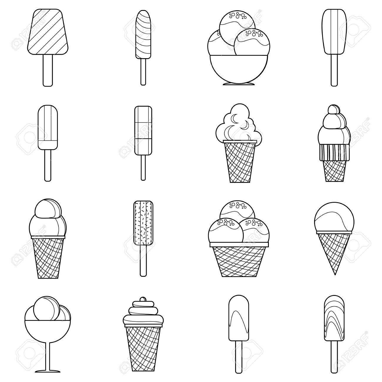 Different Ice Cream Icons Set Outline Style Royalty Free Cliparts