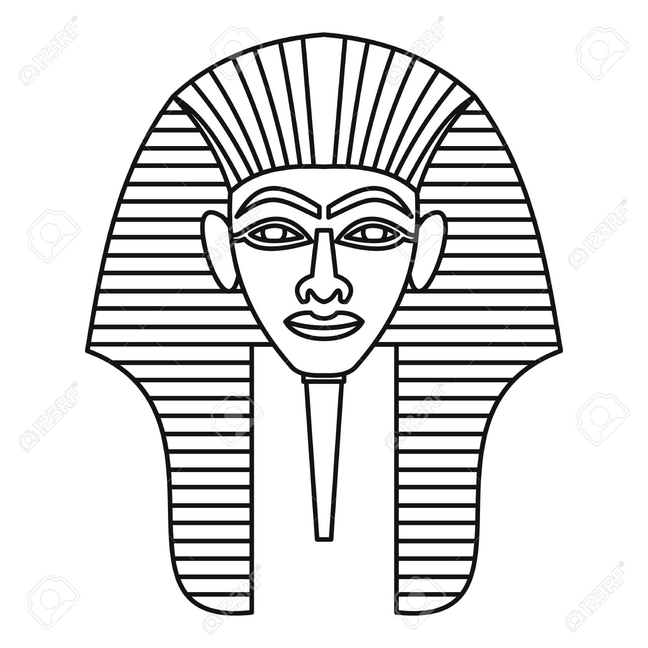 Egyptian Pharaohs Mask Icon, Outline Style Royalty Free Cliparts ...
