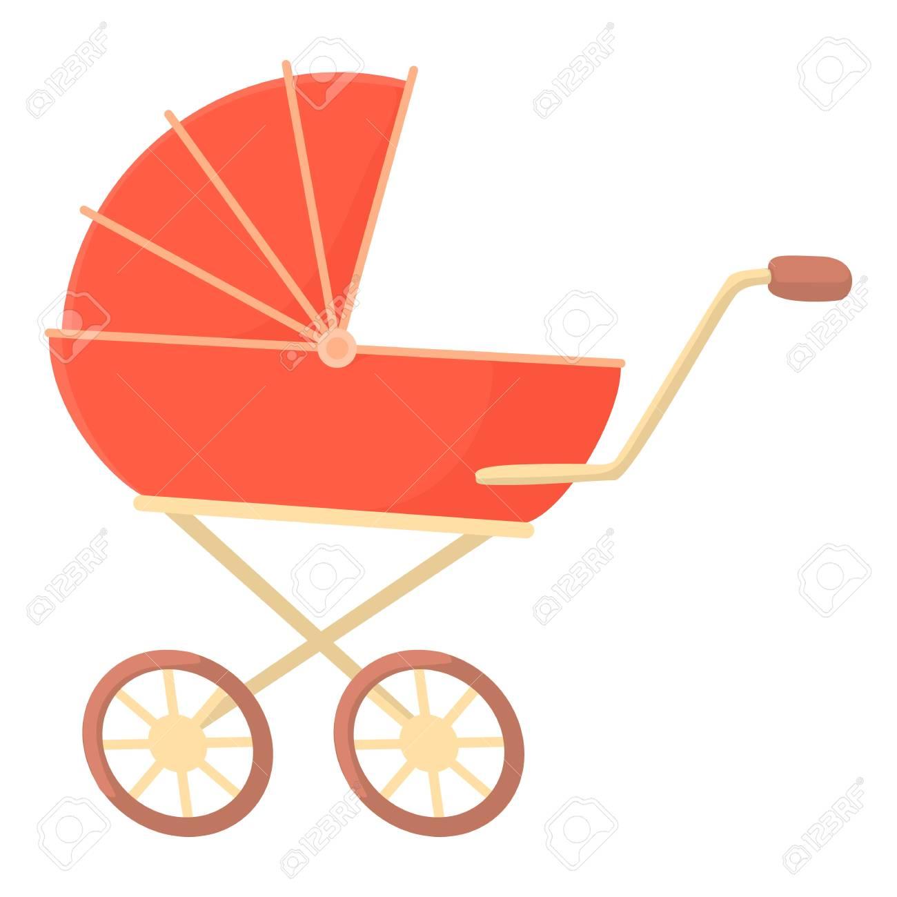 Icono del cochecito de bebé de color rojo. Ilustración de dibujos animados de cochecito de bebé del vector del icono de color rojo para la web