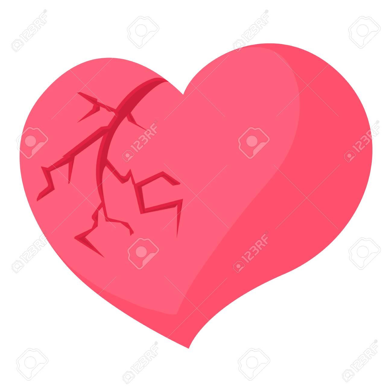 Gebrochenes Herz-Symbol. Karikaturillustration Der Vektorikone Des ...