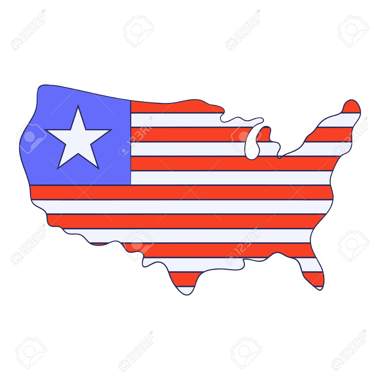 Independence Day Usa Map Icon Cartoon Style Royalty Free Cliparts