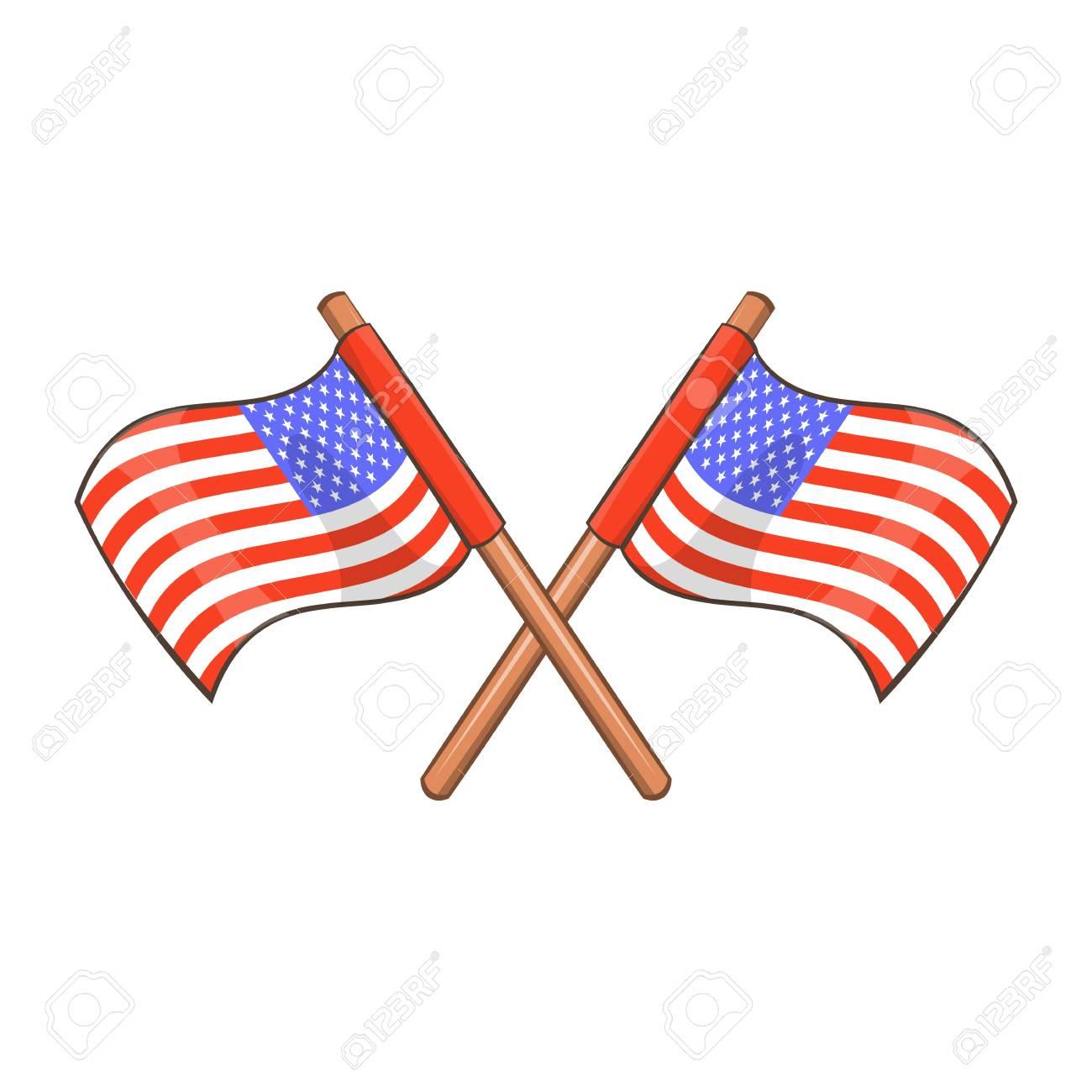 Día De La Independencia Icono De Banderas De Estados Unidos Estilo De Dibujos Animados