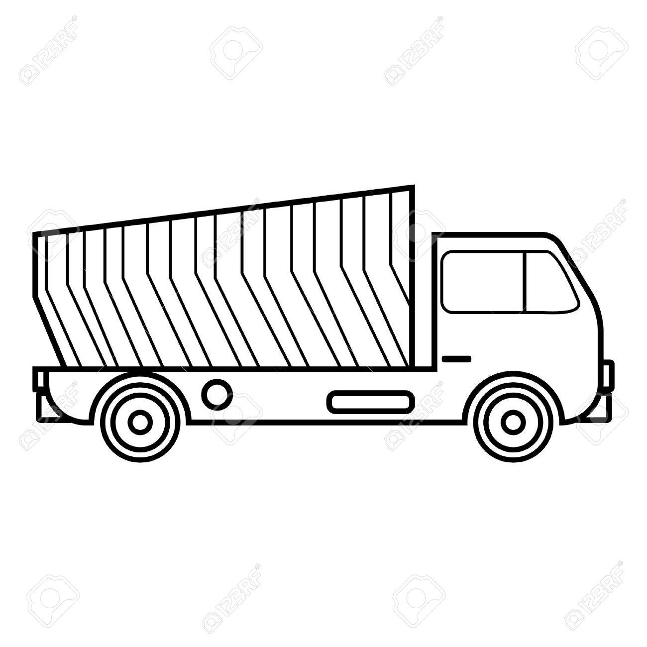 Garbage Truck Icon Outline Style Stock Vector