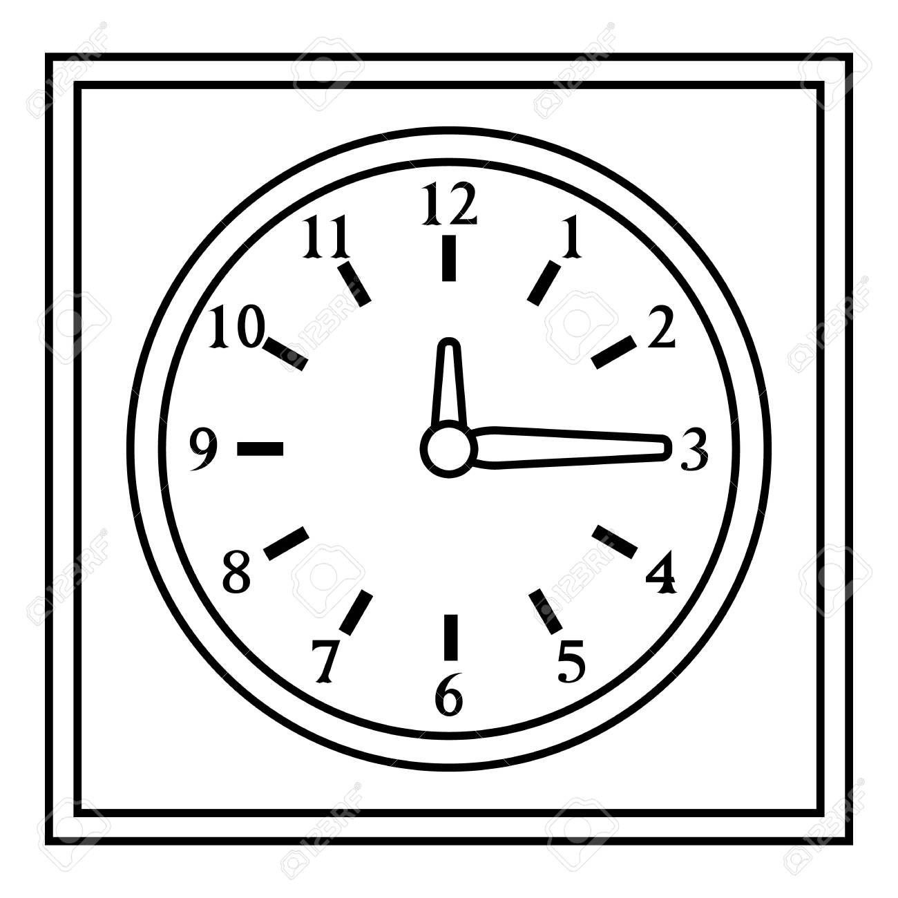 Square Wall Clock Icon Outline Style Royalty Free Cliparts Vectors And Stock Illustration Image 70058763