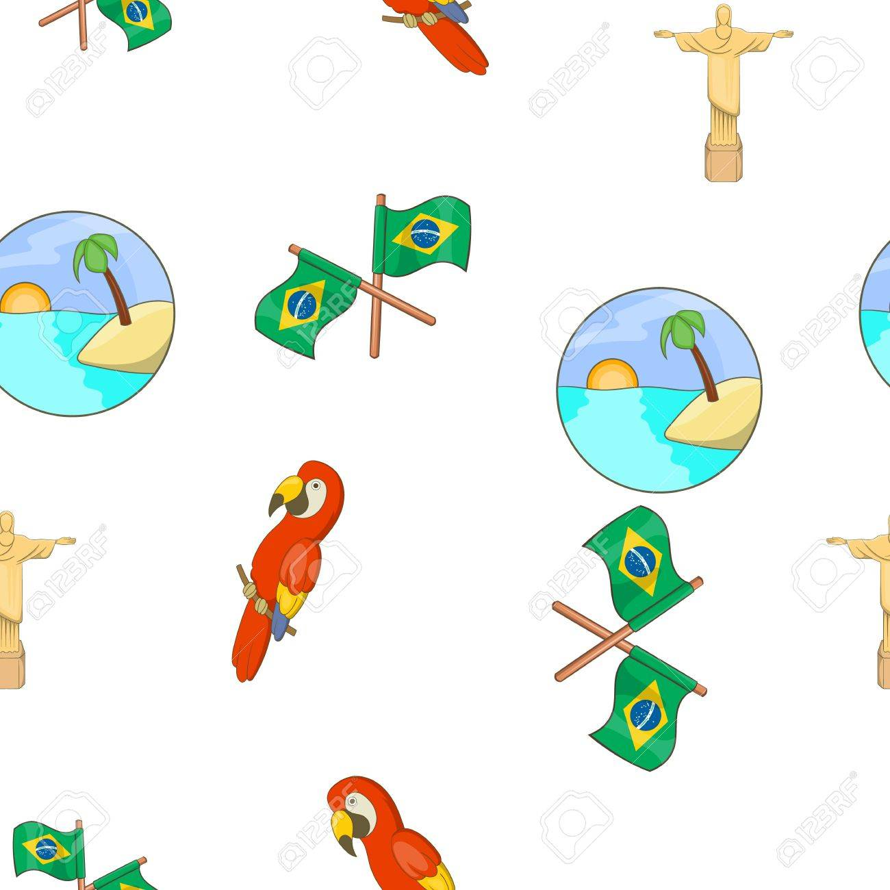 Brasil Patrón, Estilo De Dibujos Animados Ilustraciones Vectoriales ...