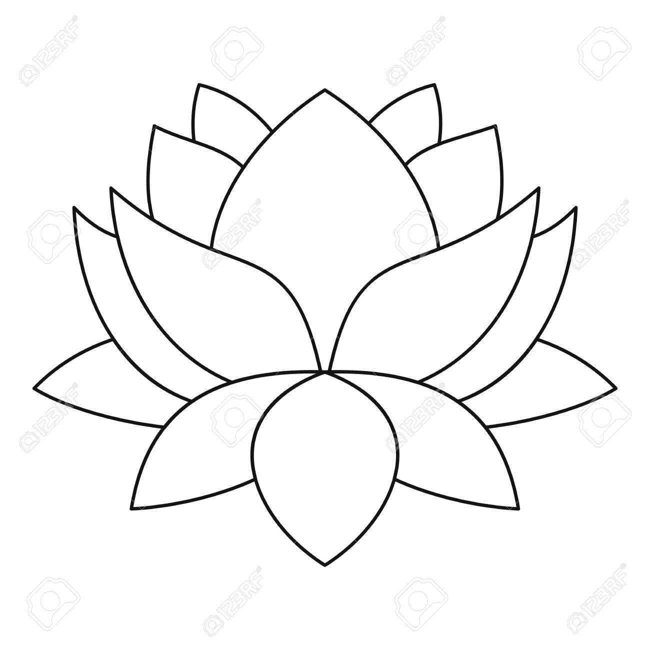 Lotus flower icon. Outline illustration of lotus flower vector..