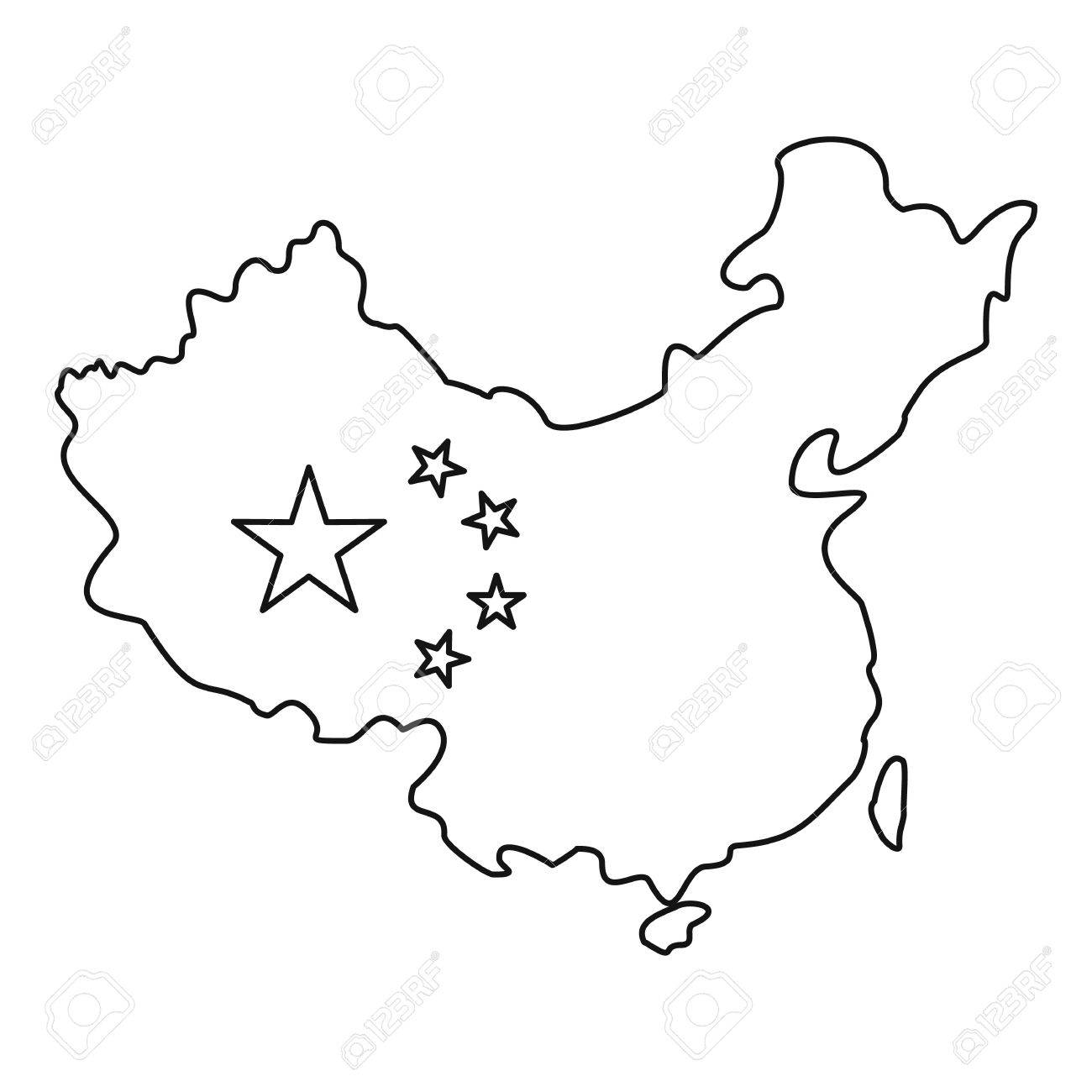 Map Of China With Flag Icon Outline Illustration Of Map Of China