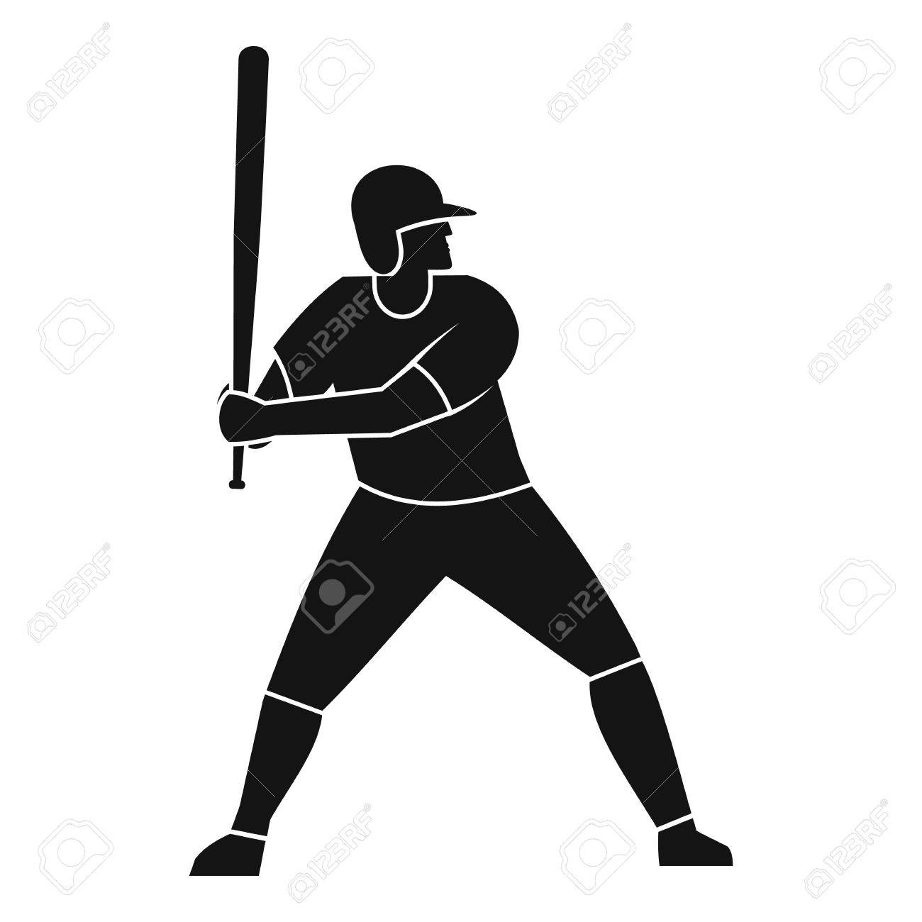 baseball player with bat icon simple style royalty free cliparts rh 123rf com Vector O Baseball Bat Baseball Bat Clip Art